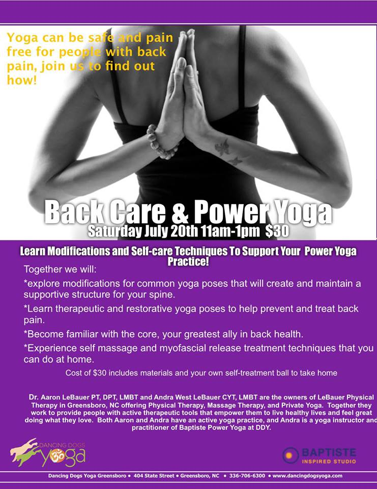 yoga back pain workshop greensboro physical therapy